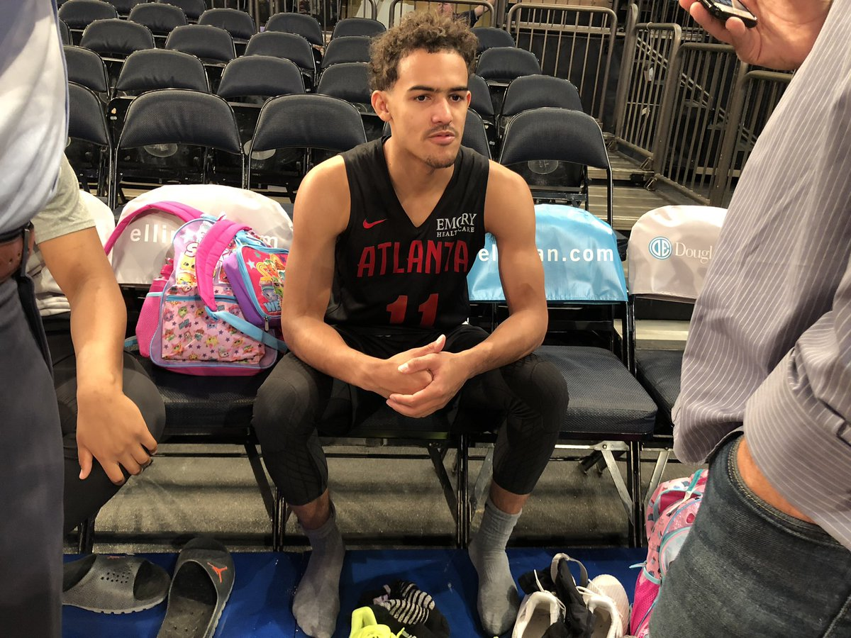 Trae Young. The Garden. Tonight. His shoes, which he doesn&#39;t want me to unveil just yet, are icy <br>http://pic.twitter.com/b5whQ217PO