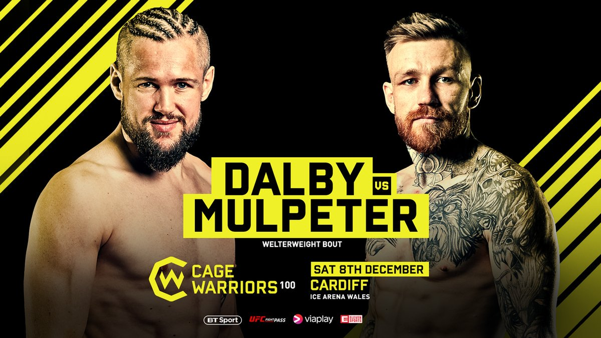 The biggest event in @CageWarriors history has just added a cracking welterweight bout to the card 👊  🇩🇰 Dalby vs Mulpeter 🇮🇪  With two title fights already confirmed and much more to come...  #CW100 is going to be 🔥