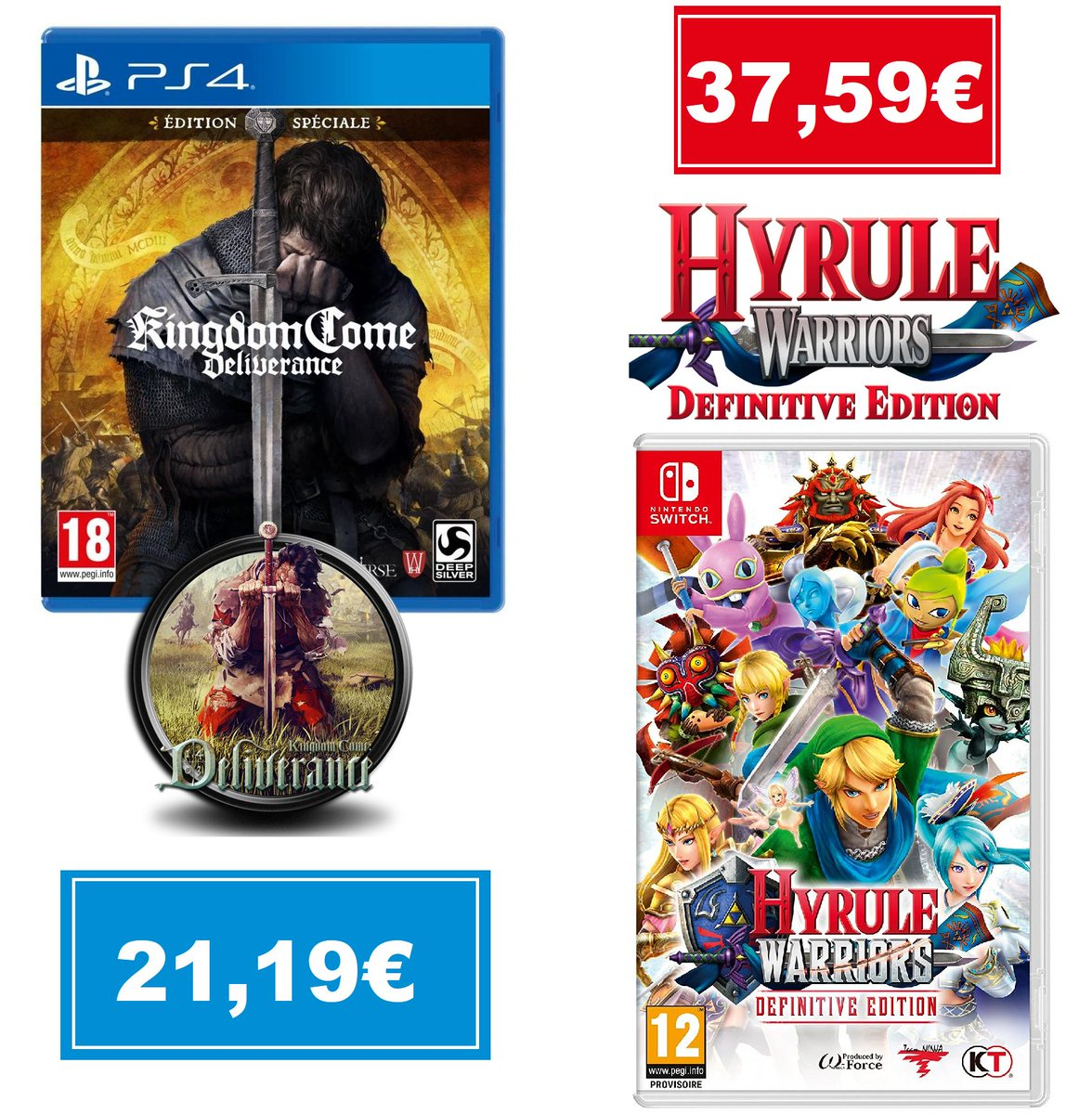 Faites votre Choix Hyrule Warriors : Definitive Edition sur Switch à 37,59€ https://jvdeal.fr/d3168 Kingdom Come : Deliverance - Edition Spéciale sur PS4 à 21,19€ https://t.co/mQZ8EiZhaD #bonplan #jeuxvideo #kingdomcomedeliverance #zelda  - FestivalFocus