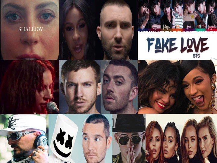 TOP 10 SONGS ON ITUNES TODAY  Shallow @LadyGaga #BradleyCooper GirlsLikeYou #Maroon5 FAKELOVE #BTS AlwaysRememberUsThisWay #LadyGaga Promises #CalvinHarris TakiTaki #DJSnake InMyMind #Dynoro Happier #Marshmello MIA #BadBunny WomanLikeMe #LittleMix<br>http://pic.twitter.com/iGR9E4nPTO