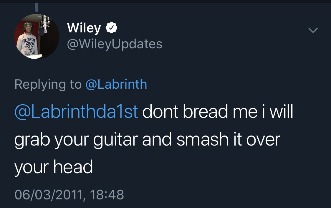 Glad to have social media Wiley back in full swing. Hopefully he can reach the heights of when he threatened to smash Labrinth's guitar over his head. <br>http://pic.twitter.com/RjOSRvdGvo