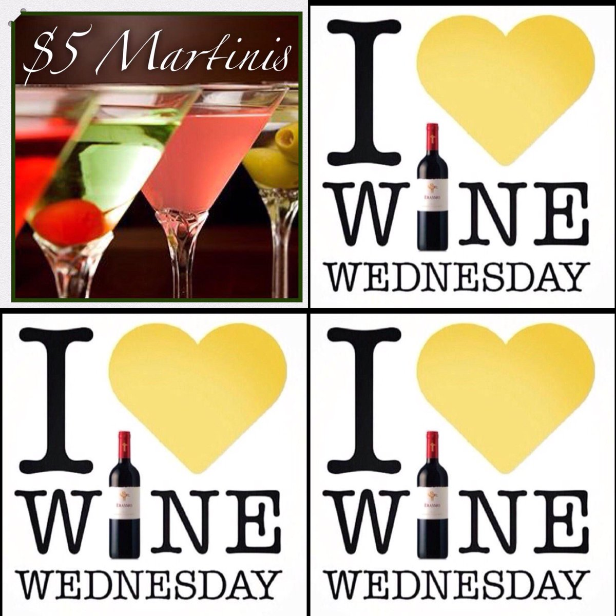 $5 OFF ALL WINES BY THE BOTTLE $5 HOUSE MARTINIS 🍸  #foodie #foodporn #wine #martini #winewednesday https://t.co/NhPFMqAZM2