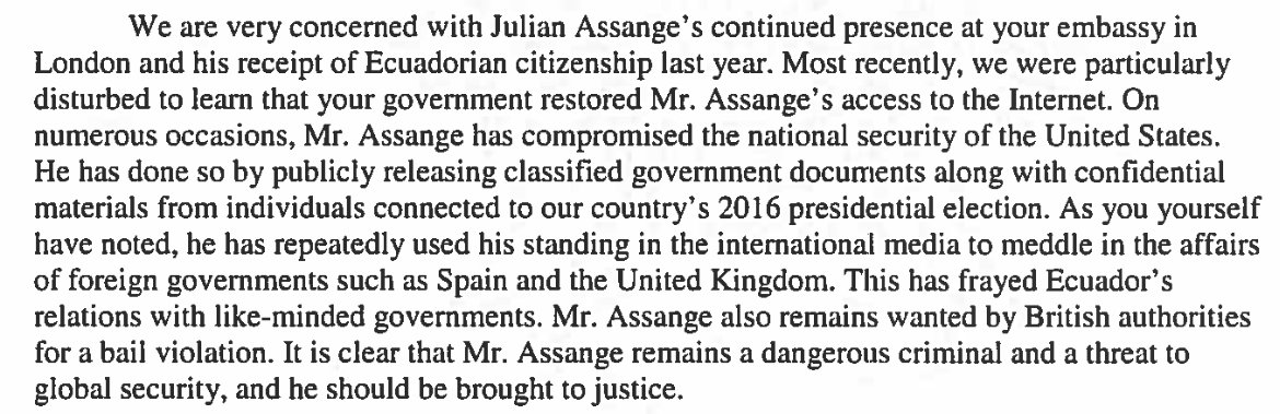 NEW: Ahead of midterms, ranking Democrat, but not Republican, of House Foreign Relations Committee pressures Ecuador's president @Lenin to hand over @wikileaks' publisher @julianassange 'A dangerous criminal and a threat to global security'  Background: https://t.co/Mb6gXlz7QS