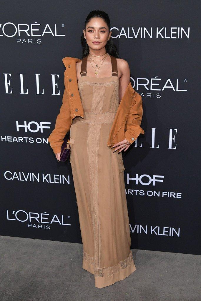 99d2c63a34 Vanessa hudgens wore an spring 2018 slip dress with leather straps + a  resort 2019 orange denim jacket to the 2018 elle women in hollywood  celebration.