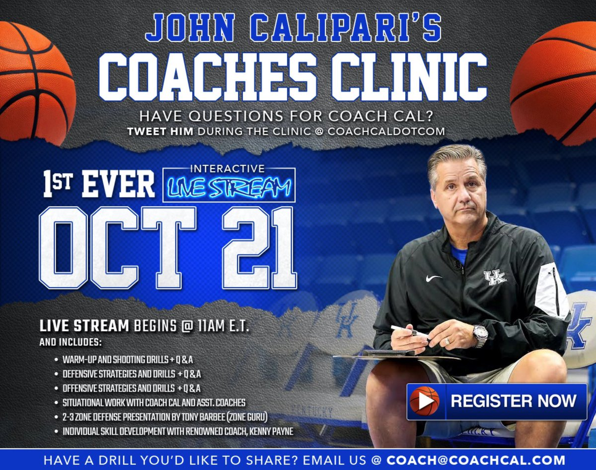 Half the states are signed up for our clinic. To encourage the other half, we're adding Andy Kennedy, who is doing our Blue-White Game that evening, to teach his 1-3-1 defense. The way he coached it at Ole Miss is unique and I think people will enjoy it. campscui.active.com/orgs/Universit…
