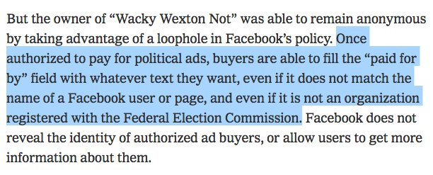 That is one hell of a loophole you left there, Facebook. By @kevinroose nytimes.com/2018/10/17/us/…