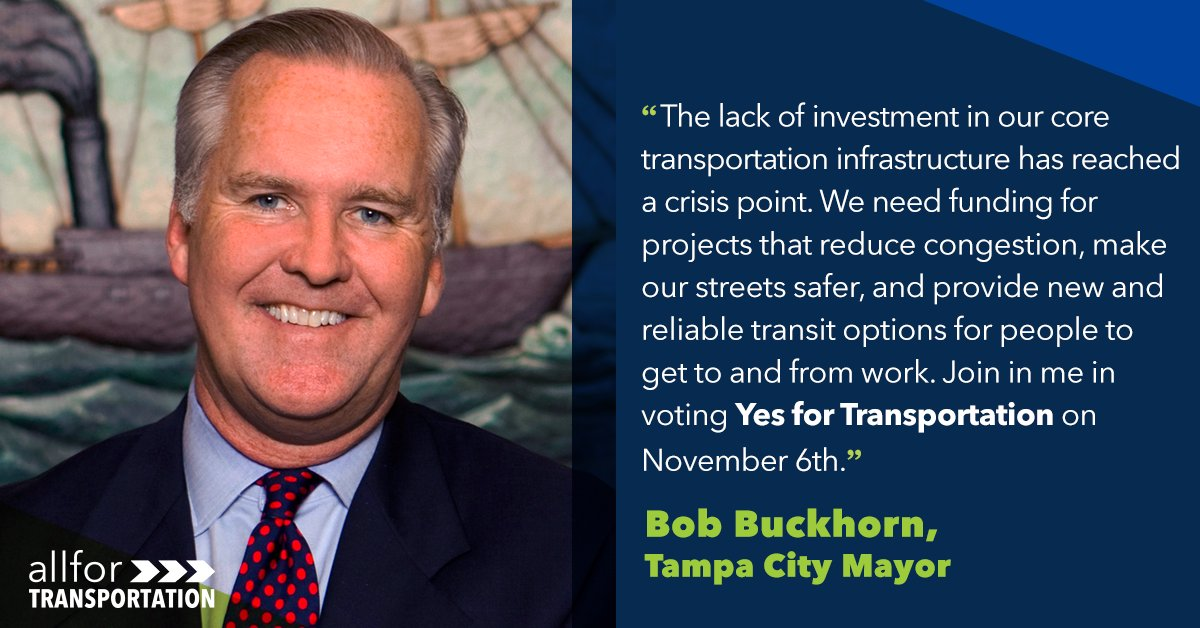 We are thrilled to announce the support of @BobBuckhorn! Mayor Buckhorn understands the struggles of commuting &amp; the lack of transportation options consuming Hillsborough County.   He also knows the only way to fix these problems is to vote #YESforTransportation on November 6th!<br>http://pic.twitter.com/ZTzCDMWhn7