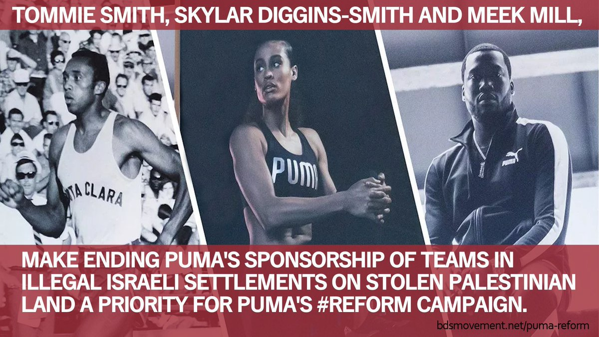 200+ Palestinian sports clubs urge @Puma to stop sponsoring teams in illegal Israeli settlements on stolen Palestinian land. #TommieSmith, @SkyDigg4 & @MeekMill, stand with them. Make ending this sponsorship deal a #REFORM campaign priority. #THIRDSALUTE bit.ly/2pVFhAG