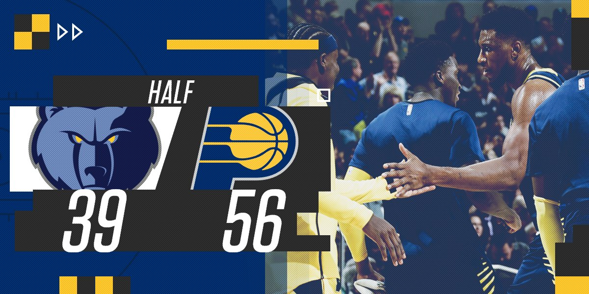 Halftime at @TheFieldhouse.  See stats inside the #Pacers mobile app: https://t.co/vKGotPusnP https://t.co/dNmMQJPXNA