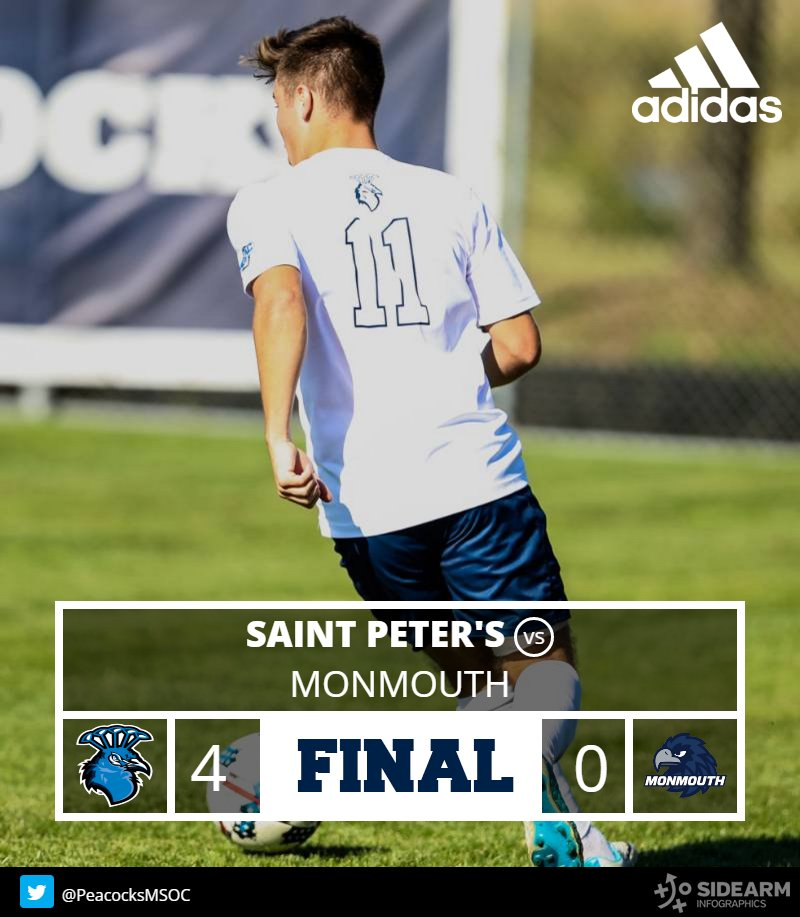 FINAL   Saint Peter&#39;s beats Monmouth 4-0 behind two goals each from Laws and Jowers!  #StrutYourPride <br>http://pic.twitter.com/ssBhUCZvWP