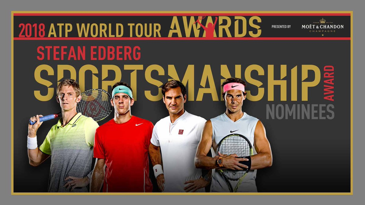 @delpotrojuan, @rogerfederer and @RafaelNadal have defined sportsmanship and continue to be great examples for me and others. To be nominated alongside them for this @ATPWorldTour award is truly an honour.<br>http://pic.twitter.com/6ALI4OGHiK