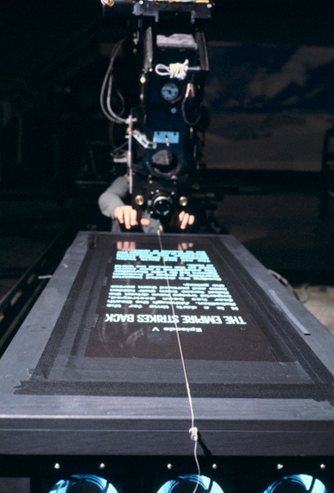 A long time ago in a film studio far, far away... Shooting the opening crawls on the original Star Wars trilogy <br>http://pic.twitter.com/fOVXWc6w5g