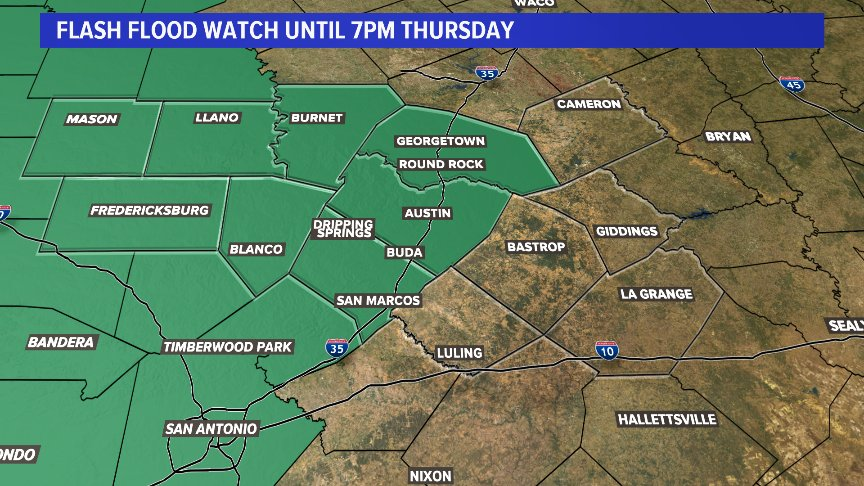Flash Flood Watch until 7pm Thursday. The watch includes the Hill Country and counties along IH-35 including the city of Austin. #atxwx #kvue<br>http://pic.twitter.com/K7xMUlP5bg