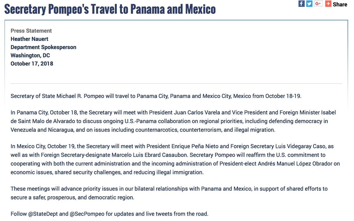 .@SecPompeo will travel to Panama City and Mexico City to advance priority issues in our bilateral relationships with #Panama and #Mexico, in support of shared efforts to secure a safer, prosperous, and democratic region.  https:// go.usa.gov/xPRNb  &nbsp;  <br>http://pic.twitter.com/98xZzBpXvN