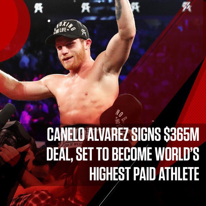 🥊 News: @Canelo Alvarez Set To Be World's Highest-Paid Athlete After Blockbuster $365 Million Contract — Signs 5-year, 11-fight deal with @DAZN   http://bit.ly/2NRfofe #DAZNxCanelo @Forbes