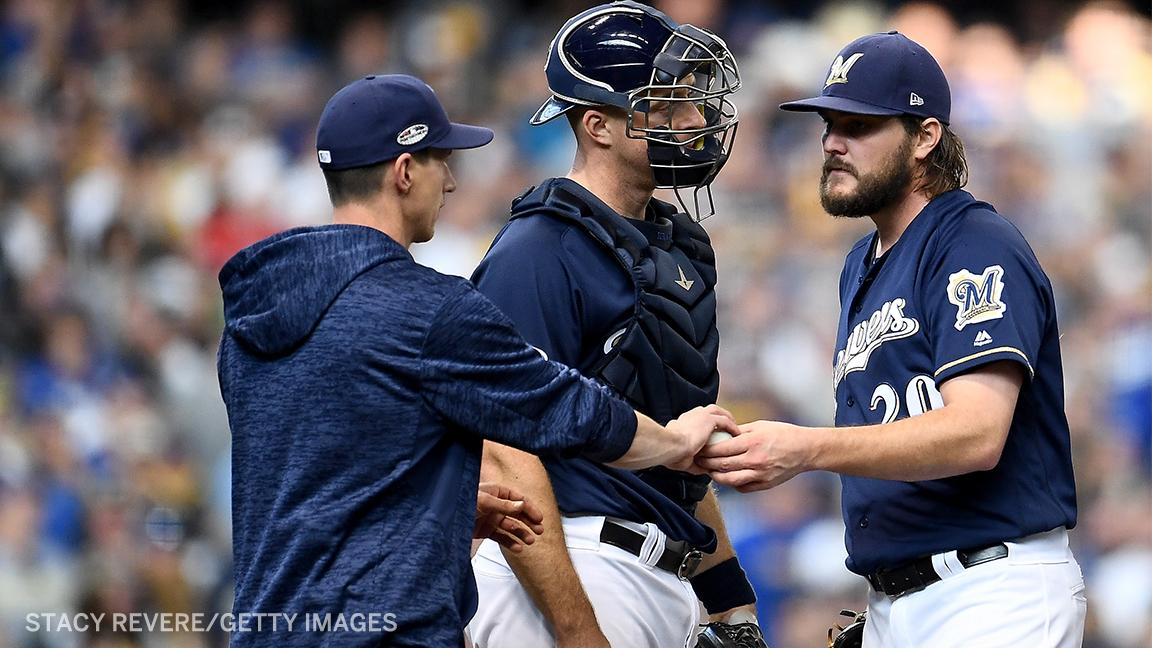Craig Counsell just pulled starter Wade Miley ... after one batter? https://t.co/CPMvHHf4kj