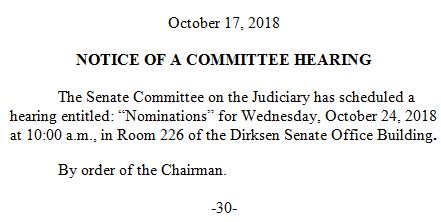 @ChuckGrassley After today's Senate Judiciary Cmte hearing went on even after Dems on the Cmte asked it be postponed b/c Senate is in recess until after the midterms, @ChuckGrassley  just announced the Oct 24th nominations hearing is also still happening --> https://t.co/A