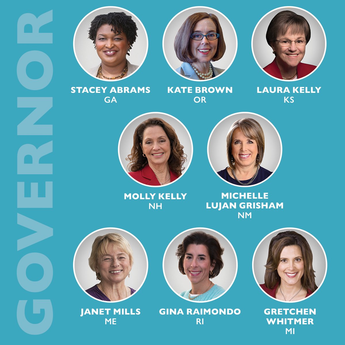 Governors are our first line of defense. We need to elect these six women who can flip seats from red to blue, plus two women in must-hold blue seats. Donate now: https://t.co/tzIoVTtDya https://t.co/5vAJmwDnqJ