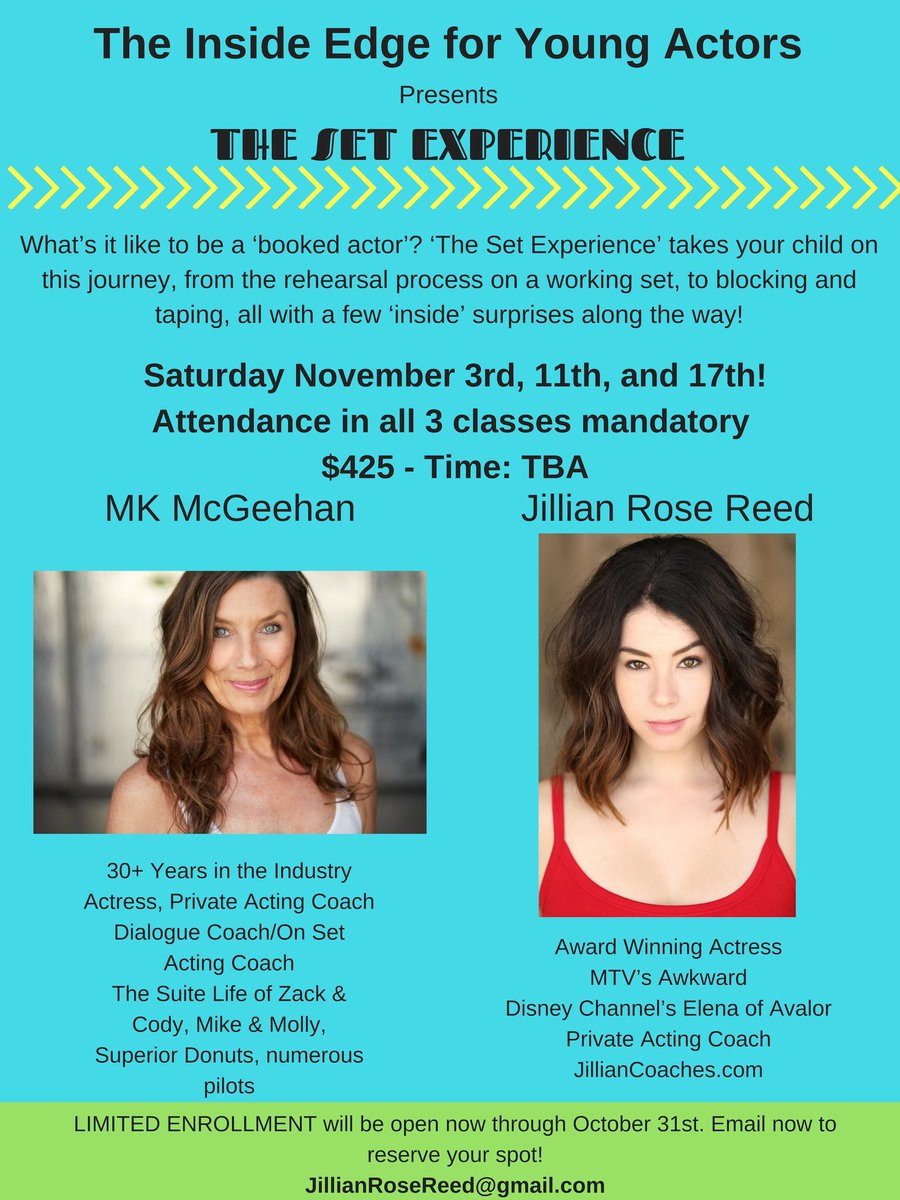 """test Twitter Media - .@JillianRoseReed #Actors Have you signed up for my friends' Jillian &. #MKMcGeehan The Inside Edge """"The Set Experience"""" #class yet? #Young #Actors #YoungActors cannot miss this with these #powerhouse women 🎭 #Hollywood #November #actorslife 🎬 https://t.co/bowdzEAYQT"""