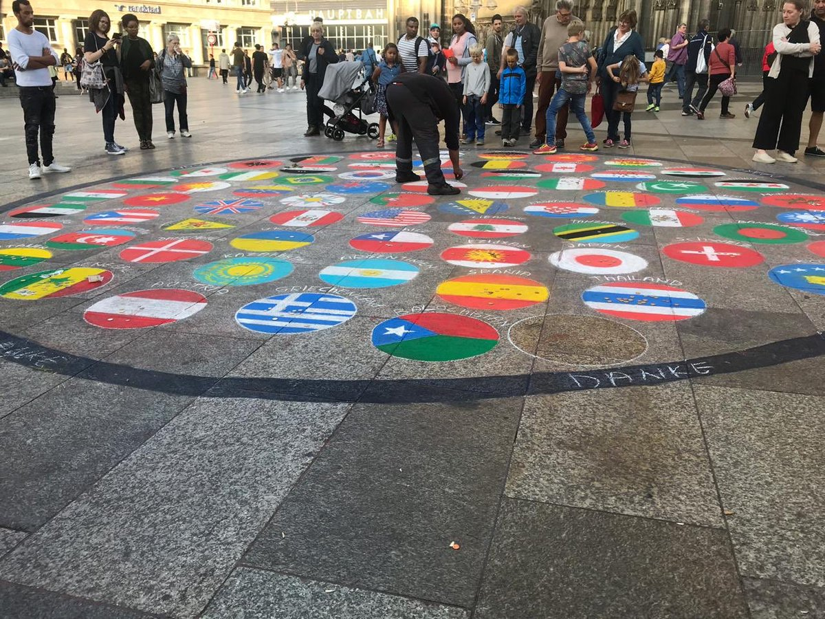 #Cologne #Germany: The flag of #Balochistan painted with the flags other many other countries around the world. World is slowly and surely realising that #BalochistanIsNotPakistan  #BalochistanIsNotIran<br>http://pic.twitter.com/3QsWNhKSpP