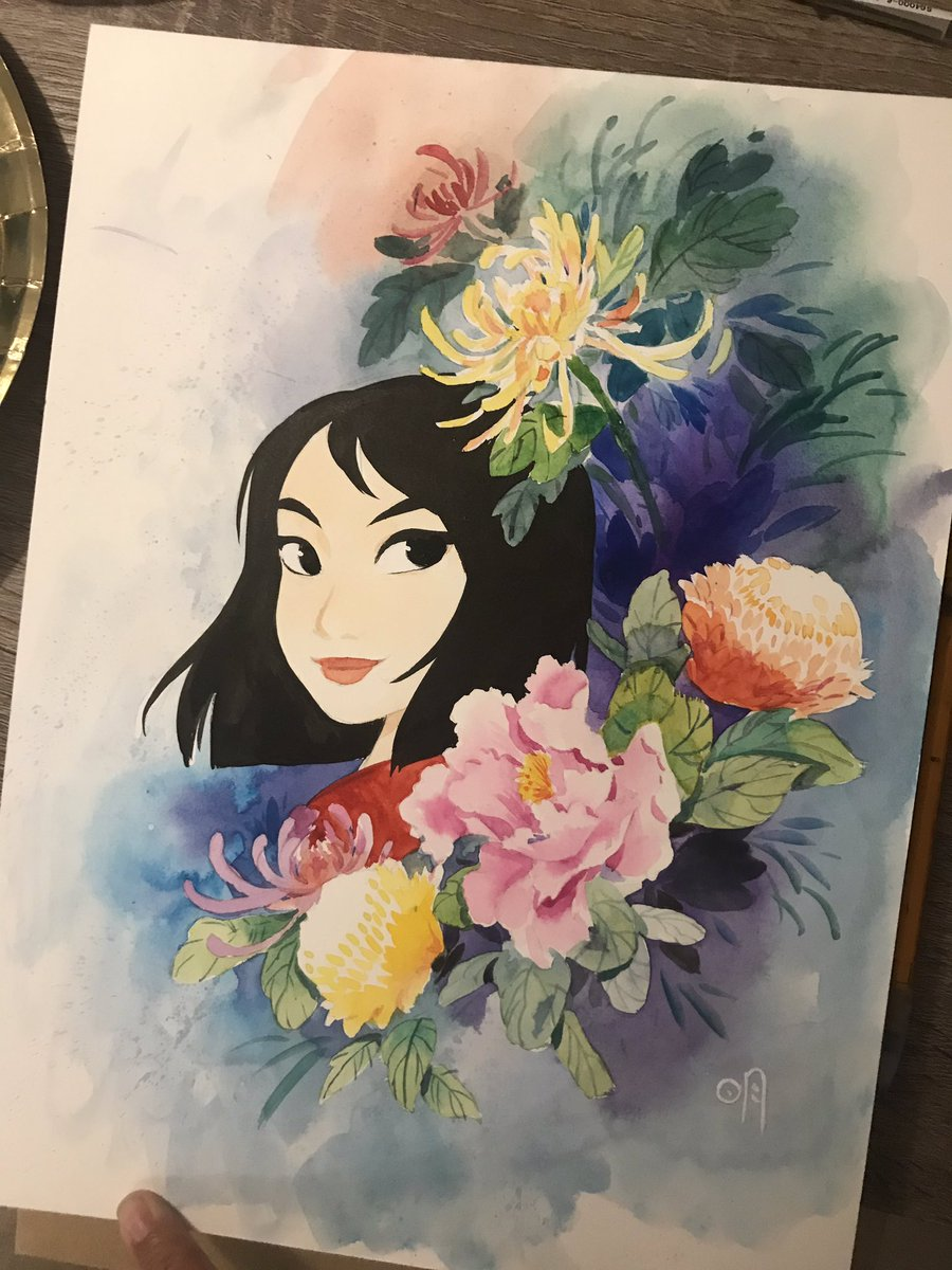 Also! Here's my full piece for @gallerynucleus #mulan tribute show this weekend! Busted out some Chinese watercolor paints for this. Hope to see you guys at the show! <br>http://pic.twitter.com/LwNGr3yy0W