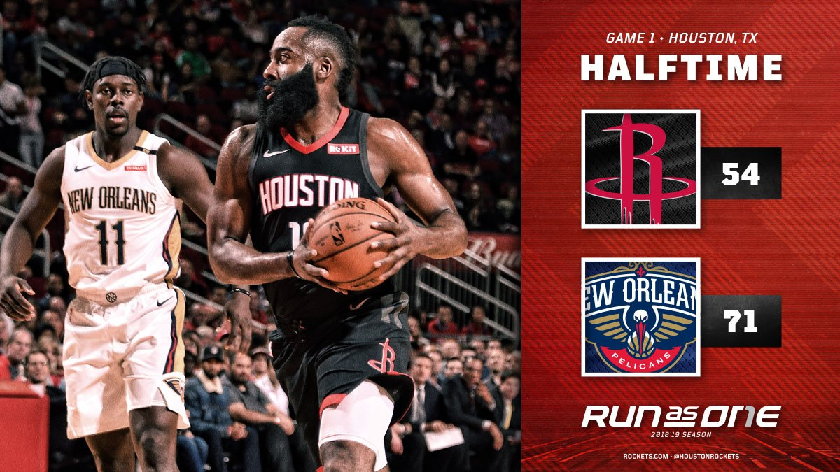 Got work to do in the second-half. 📊 @JHarden13 10PTS/6REB/5AST