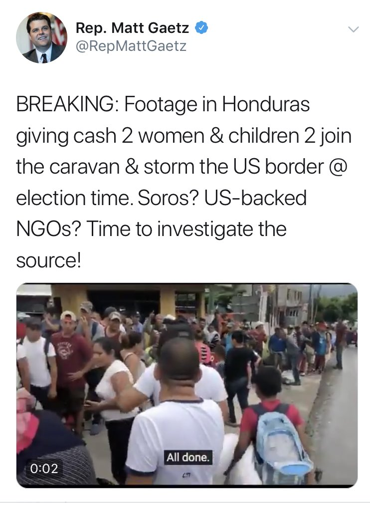 A Republican U.S. congressman is suggesting that George Soros is secretly funding a caravan of Honduran children to sway the election. <br>http://pic.twitter.com/cwaCLrnIZz