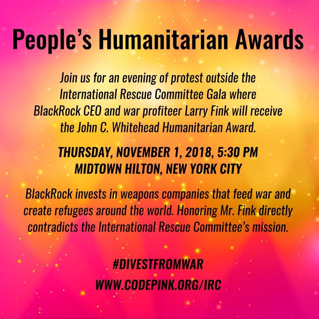 Join us in NYC for the Peoples Humanitarian Award gala! Unlike @theIRC, we are going to award someone who actually stands for refugees, not war. buff.ly/2yrJPmx #DivestFromWar