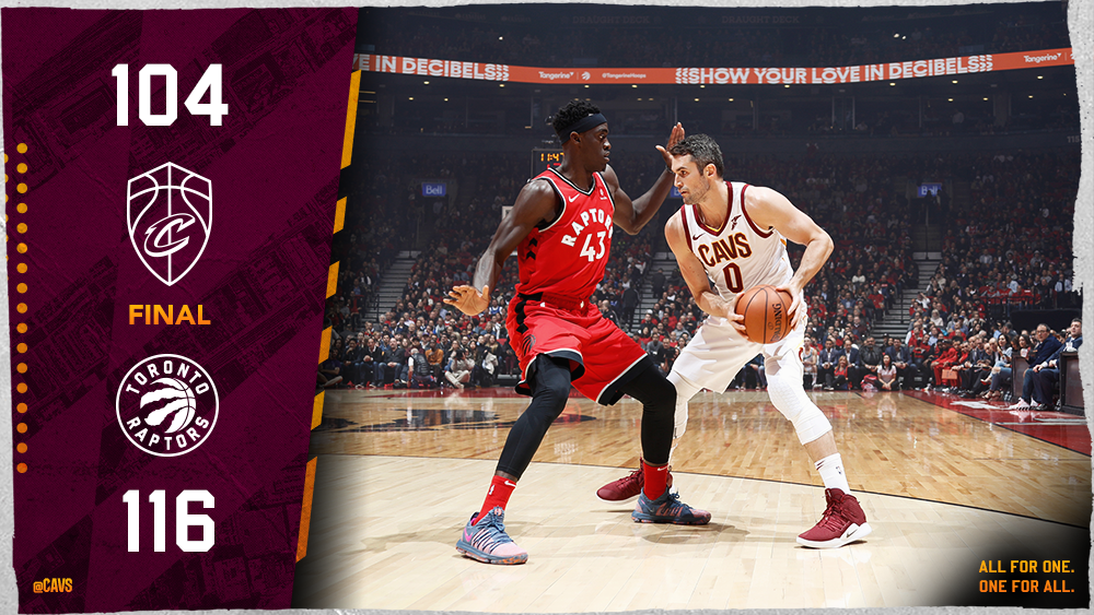 Our #CavsRaptors comeback falls short in Toronto, but we showed plenty of grit on Opening Night ↓  @kevinlove: 21 pts, 8 reb @cediosman 17 pts, 10 reb @George_Hill3 15 pts, 7 ast @JClark5on 15 pts  12 pt@hoodie5_s  9 pts, @CollinYoungBull3 reb  #BeTheFight