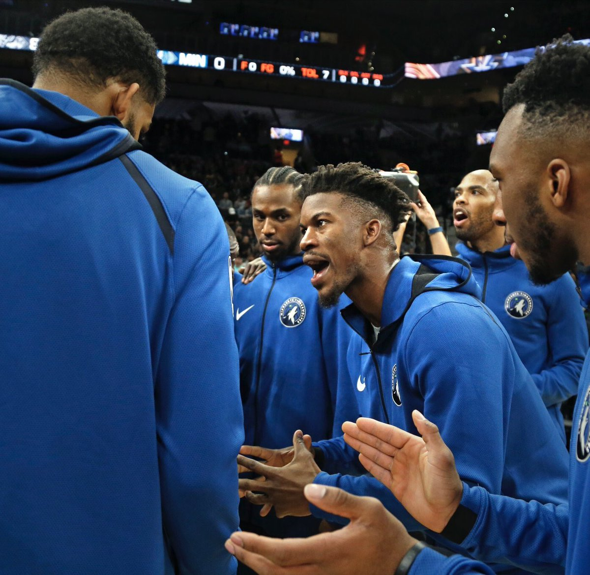 The way Andrew Wiggins is looking at Jimmy Butler in this photo sums up everything. <br>http://pic.twitter.com/WXrD7AK5BE