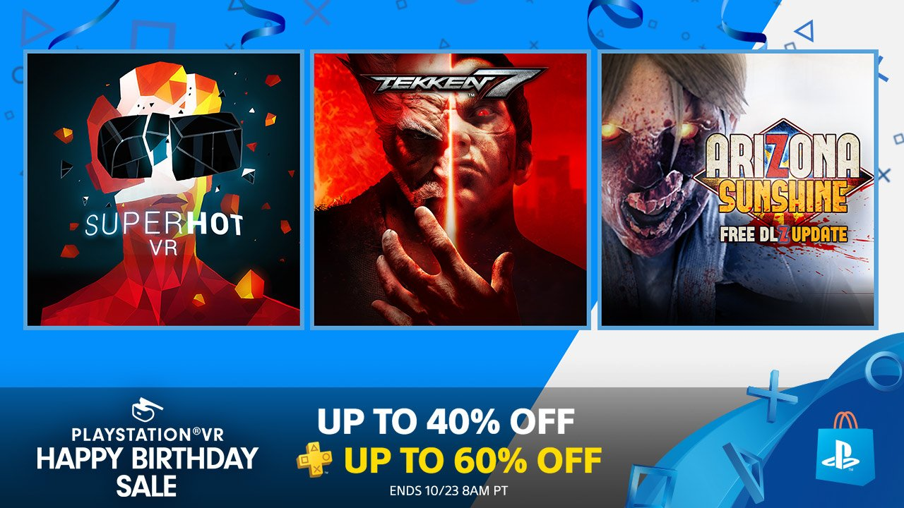 PlayStation VR's Happy Birthday Sale continues with deals on Superhot VR, Tekken 7 and more: https://t.co/FazF8L4xyb https://t.co/810TYQLa9x