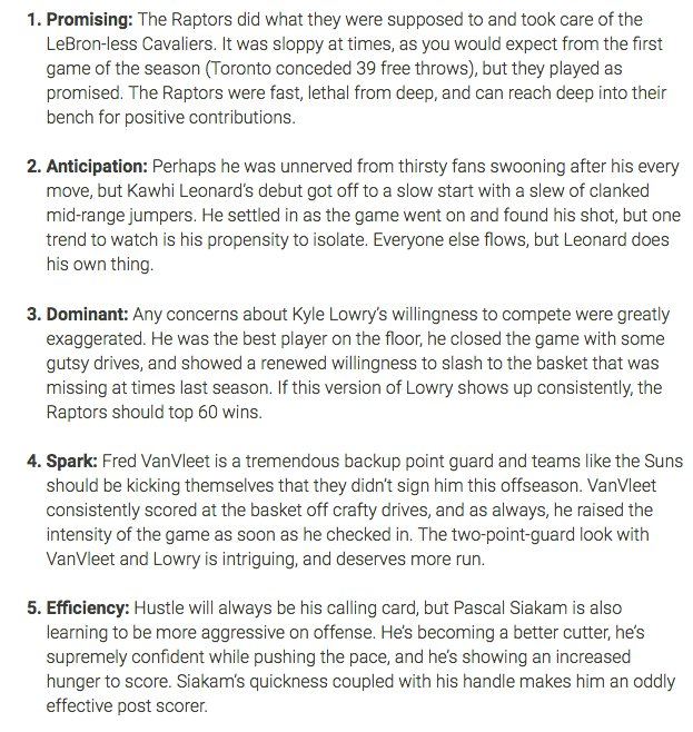 10 things from Raptors-Cavaliers #NBA #WeTheNorth (see link for full list)  https://www. thescore.com/news/1630741  &nbsp;  <br>http://pic.twitter.com/wPkFiQpici