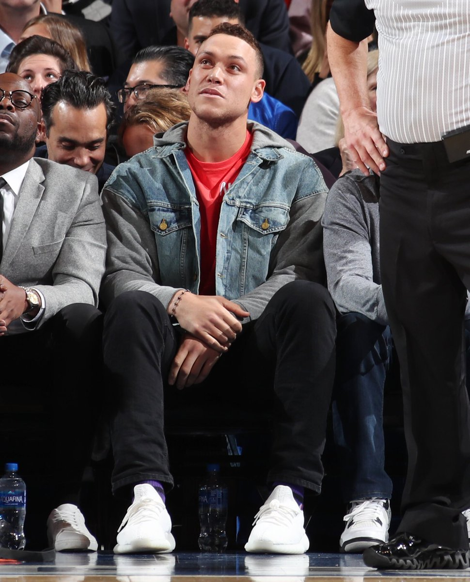 Yankees slugger @TheJudge44 checking out Hawks/Knicks in Adidas Yeezy Boost 350 V2s. 📸: @natlyphoto