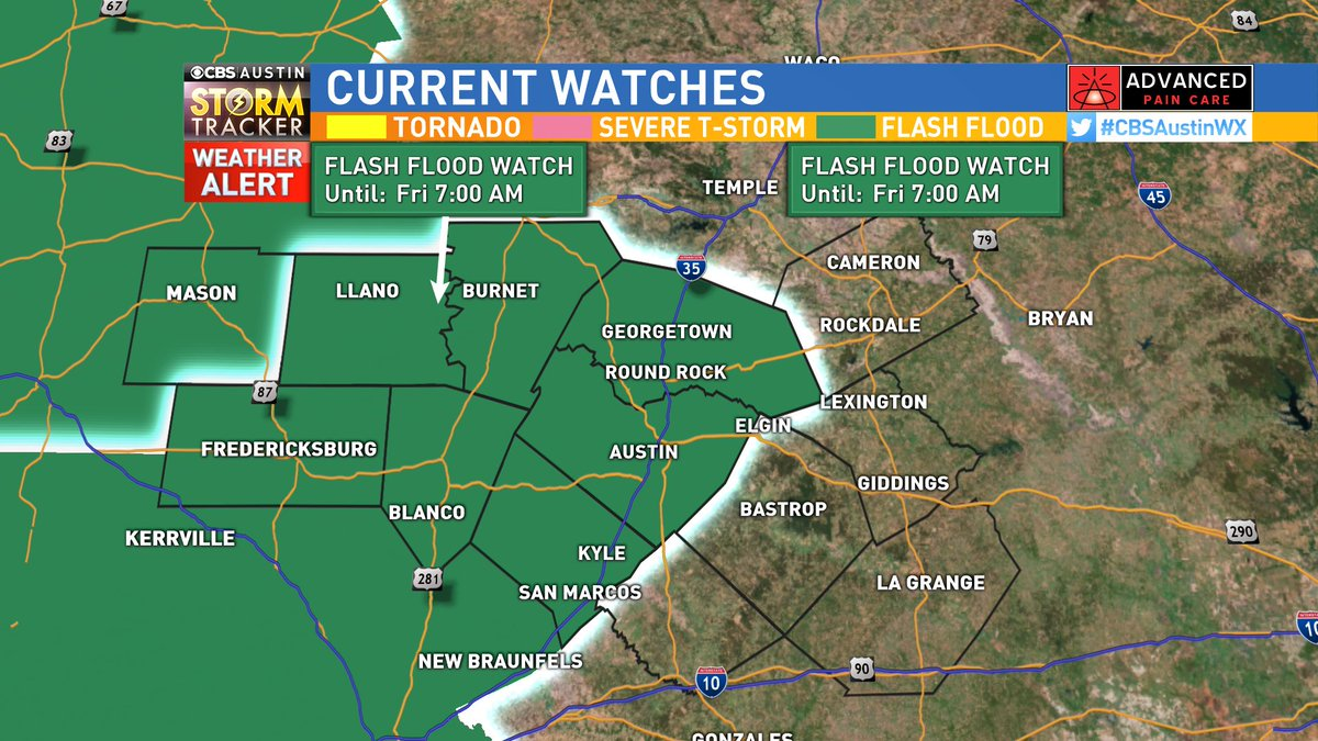 Brand new this morning: Last night the flash flood watch was expanded to include Austin, and it has now been extended until 7 AM Friday.   Rain returns beginning today #atxwx #CBSAustinWX<br>http://pic.twitter.com/Klu1yB49Gv