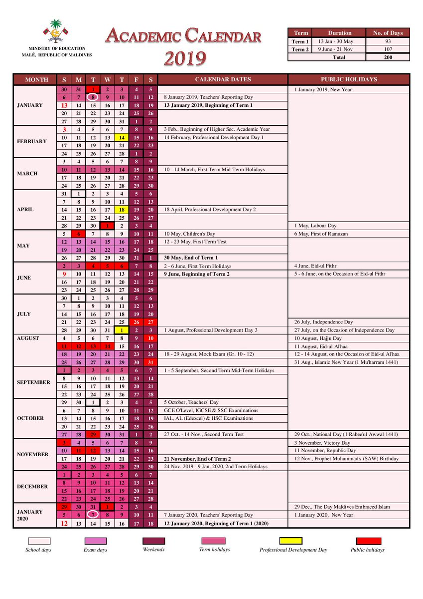 Academic Calendar 2019 Ministry of Education on Twitter: