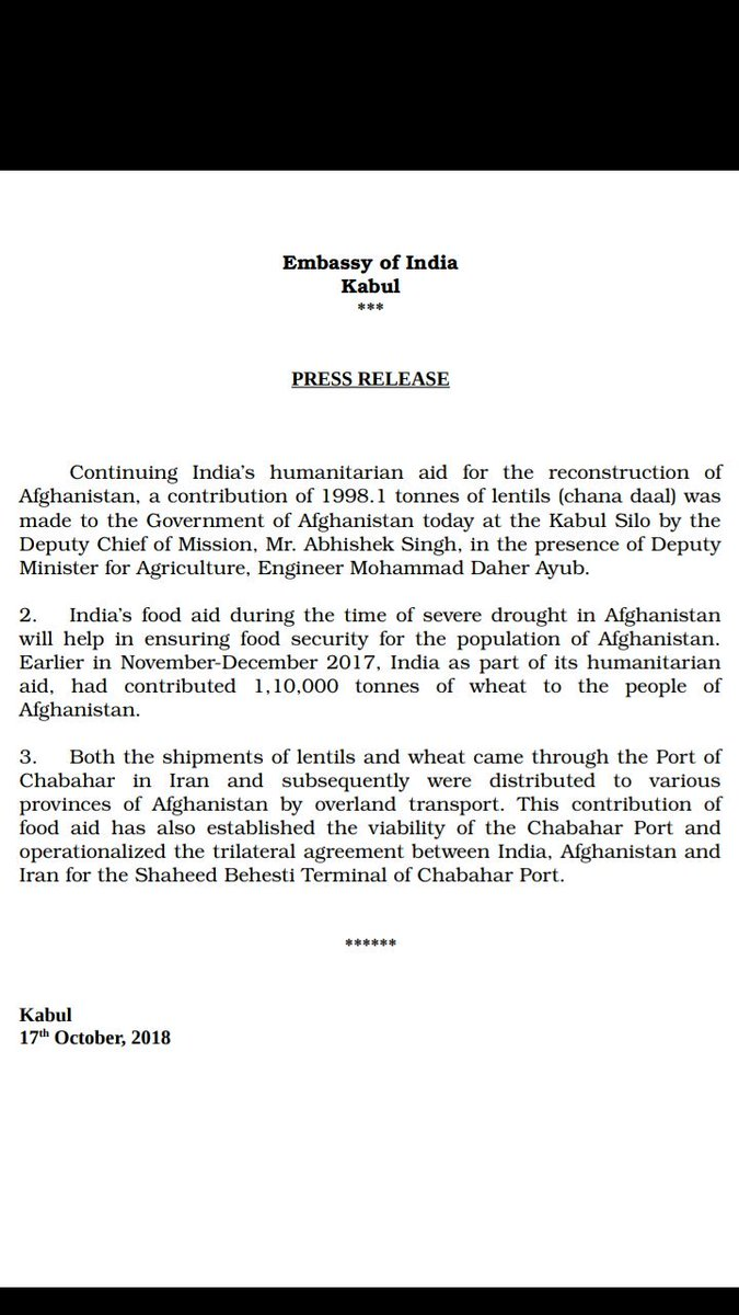 Continuing Indias humanitarian aid for the reconstruction of #Afghanistan,a contribution of 1998.1 tonnes of lentils was made to the Government of Afghanistan on 17October. This contribution will help in ensuring food security at the time of severe drought. @vkumar1969