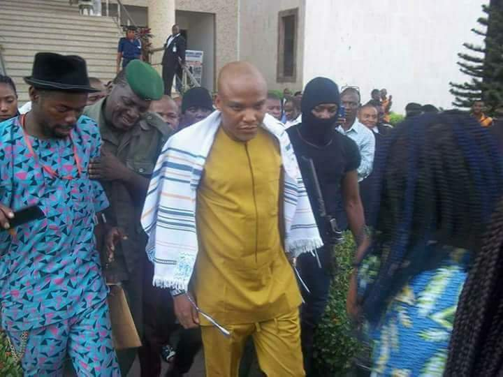 While you Atikulate and obinate Never you Forget that the only Man #NnamdiKanu who stood bravely to defend Biafrans against the Oppressive NIGERIAN State in been Kidnapped by the Nigerian State with his Dad and many others Killed &amp; dumped in mass graves Without investigation @UN <br>http://pic.twitter.com/sx5KsNupah