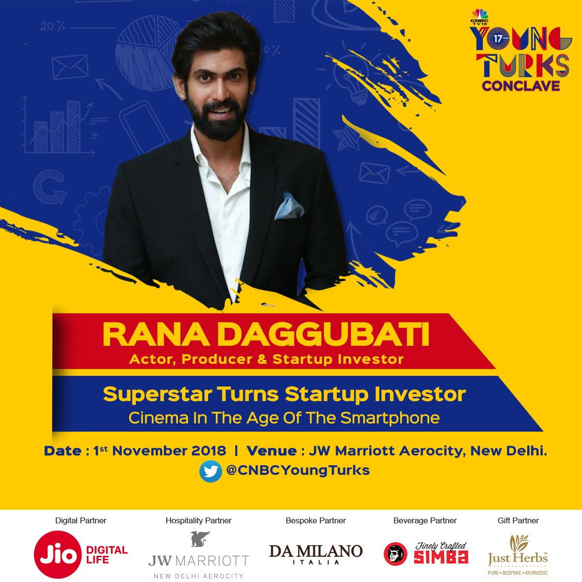 The superstar turned startup investor? Meet @RanaDaggubati talk about cinema in the age of the smartphones at the #YoungTurksConclave on November 1, 2018 @CNBCTV18News @ShereenBhan