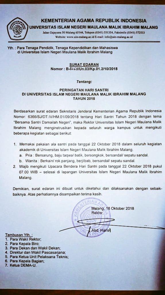 ο χρήστης Uin Maliki Malang στο Twitter Surat Edaran Hari