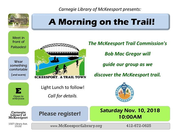 Join us next month for a morning on the trail! #mckeesport <br>http://pic.twitter.com/YiVFlQsIEb