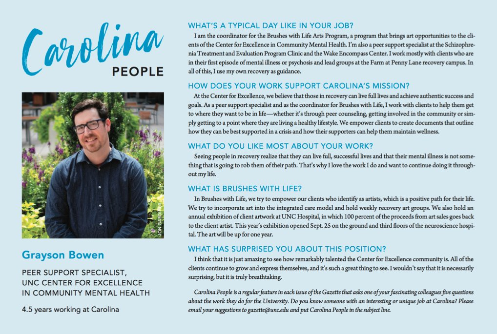 Grayson Bowen wears many hats as a peer support specialist at the #UNC Center for Excellence in Community Mental Health. Discover how he uses art to encourage his clients to live full lives and achieve their goals in recovery (via @univgazette) ⬇️ https://t.co/21rPA7W1FI