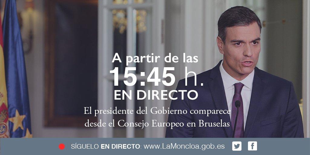 Comparecencia del presidente del Gobierno @sanchezcastejon desde el Consejo Europeo en #Bruselas. En #directo a partir de las 15:45h: https://t.co/ckZ6ozlDtF #EUCO
