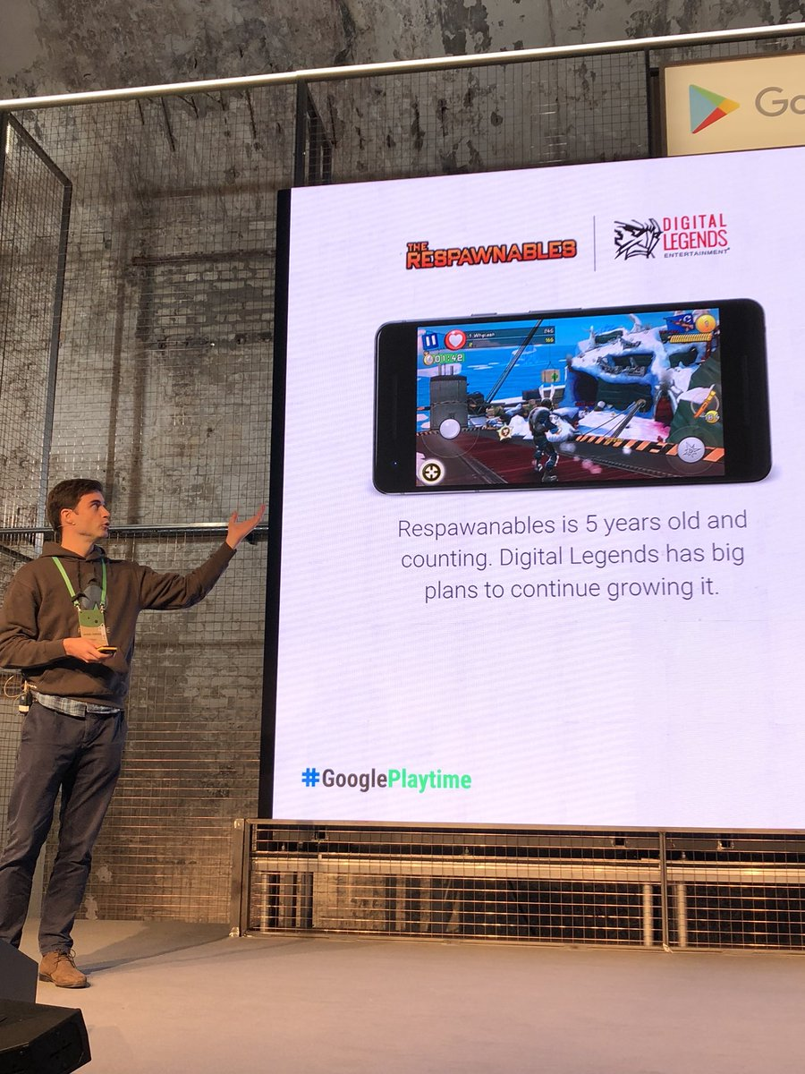 Proud to see our game @TheRespawnables on stage at #GooglePlaytime today and even more proud of our amazing @Digital_Legends Team that makes that possible. #berlin #newupdatetoday