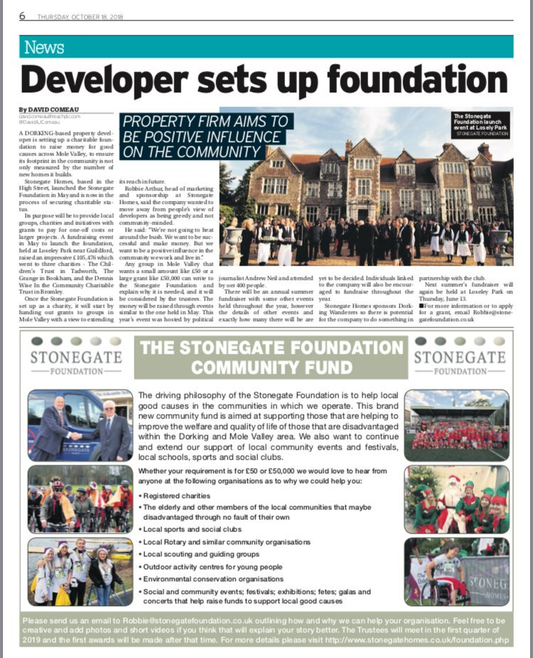 RT @Stonegate_Homes We are very excited to have a feature in @newsmolevalley today about our very successful launch event for the Stonegate Foundation & the announcement of our new Community Fund #dorking #molevalley #givingback #community #charity #foundation