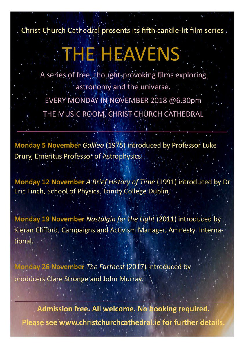 test Twitter Media - THE HEAVENS, a series of thought-provoking films exploring astronomy and the universe, introduced by Prof. @Luke_Drury, will be held every Monday in Nov 2018, The Music Room, Christ Church Cathedral. For more details please see https://t.co/W2eisVF8tX #DIASDublin #DIASDiscovers https://t.co/YC7BSNhDcG