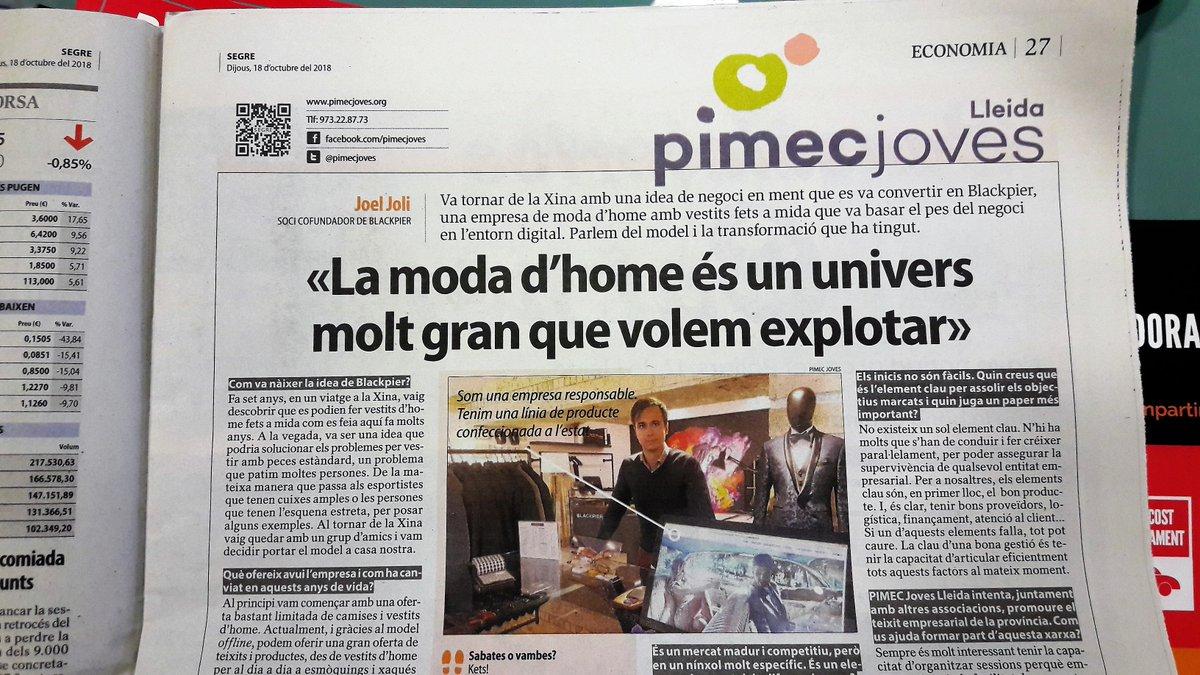 Entrevista a Joel Joli, soci cofundador de @Blackpier , en la pàgina de @pimecjoves @Pimec del diari @SEGREcom https://t.co/eBwQrqFOie