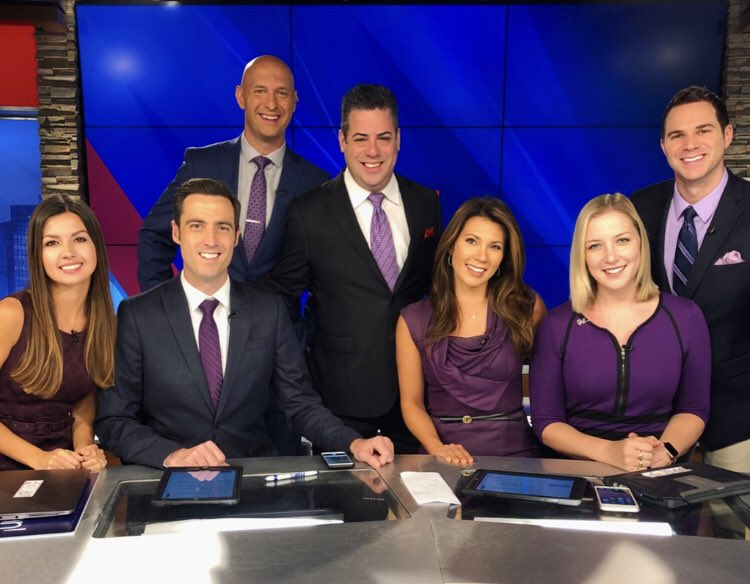 Matching purple and matching smiles!  this team  who is excited for #FridayEve  <br>http://pic.twitter.com/V4YwQoGezC