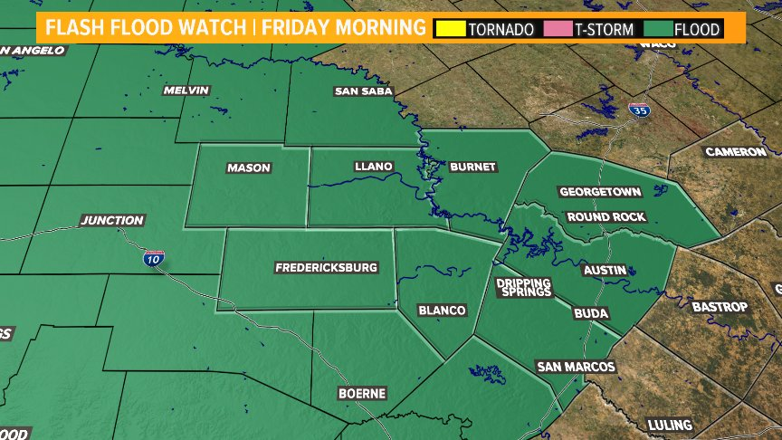 FLASH FLOOD WATCH | The watch has been extended until Friday morning. More rain is in the forecast and moderate to heavy rain is possible at times today. #ATXWX #KVUE<br>http://pic.twitter.com/Pjy9QHwuzw