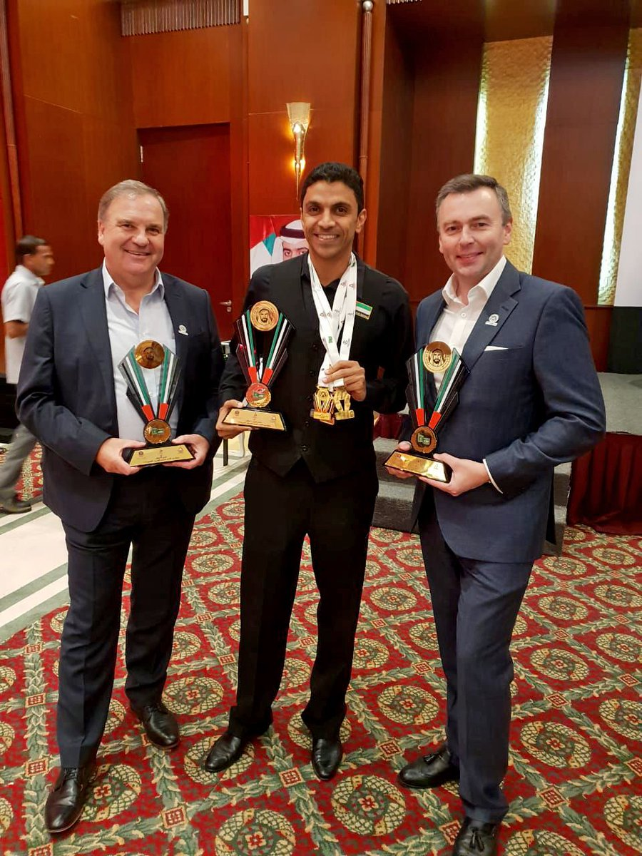 test Twitter Media - It has been another successful Arab Championships for @MohammedMShehab - pictured with WSF President @jasonferguson5 and Vice President Nigel Mawer who were on hand to help lighten his load and hold some of his trophies! 🏆🏆🏆 https://t.co/3CSwaJLJX6