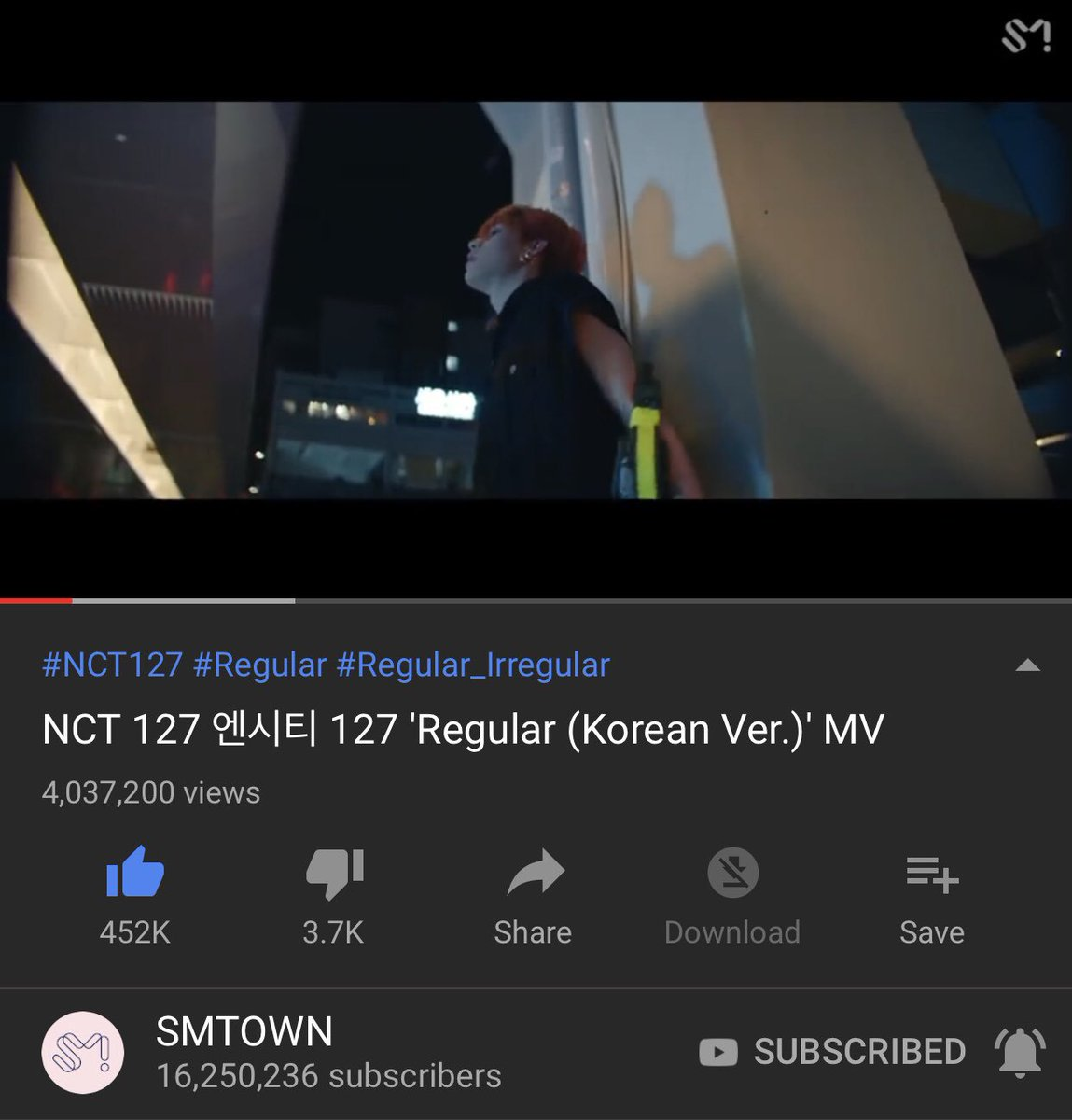 #NCT127_Regular_Kor MV reached 4M views and 452K likes after 6 days since it was released!  Don't forget to stream Czennies!    http:// youtu.be/Gif0E6jYakM  &nbsp;    @NCTsmtown @NCTsmtown_127 #NCT127_Regular_Irregular⁠<br>http://pic.twitter.com/mUDUwVXka0